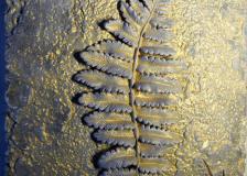 Лист папоратника сер с позолотой
